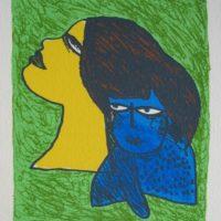 Femme au chat bleu