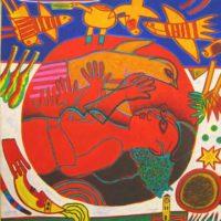 Femme Rouge et Oiseau Orange
