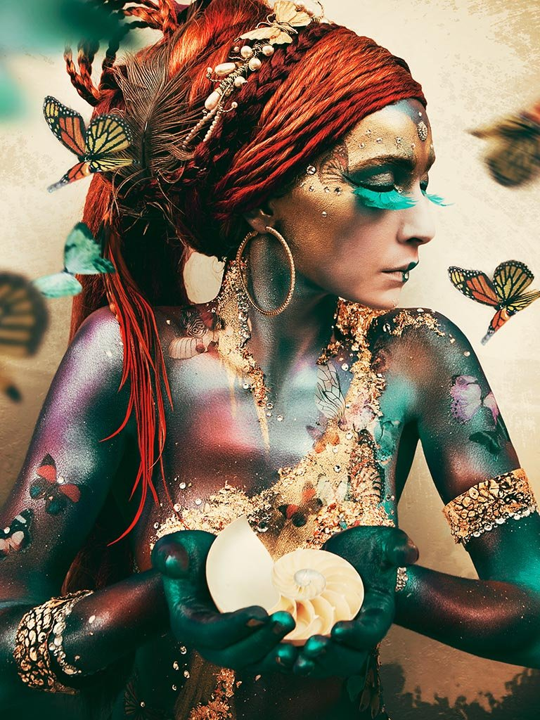 Woman with butterflies, I