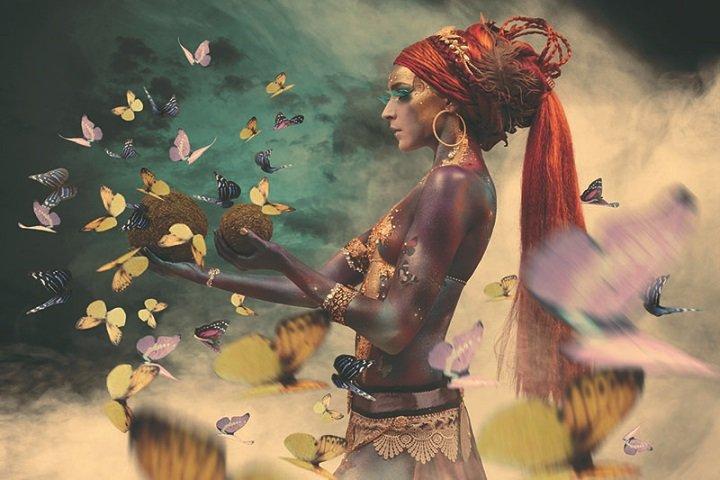 Woman with butterflies, III