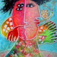 Mujer con mariposa II