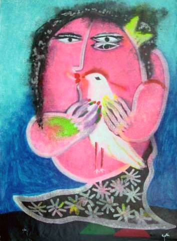 Mujer con pájaro