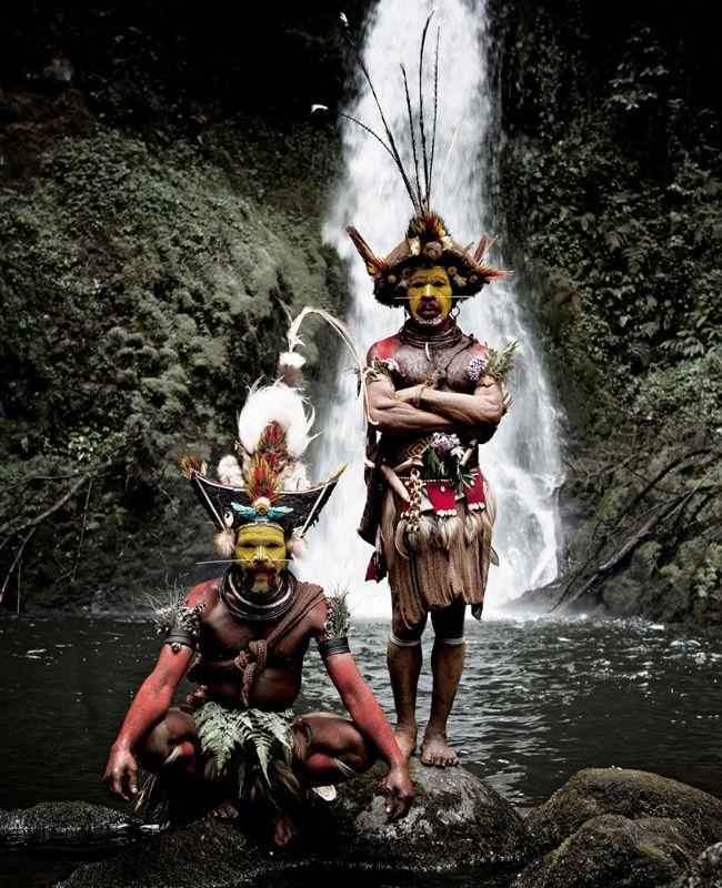 Huli Wig men, Ambua Falls, Tari Valley, Papua New Guinea