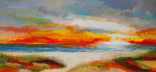 Ondergaande zon in de duinen
