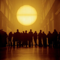 The Danish Artist, Olafur Eliasson's installation of a huge artificial sun in the Turbin Hall, Tate Modern, London, Great Britain, 2003.