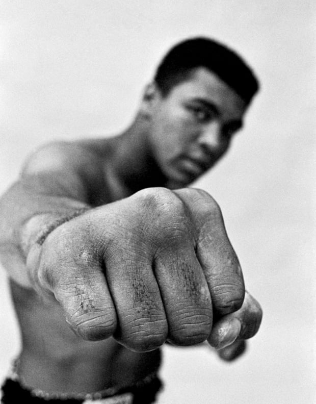 Muhammad Ali, boxing world heavyweight champion showing off his right fist, Chicago, USA, 1966.