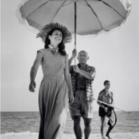 Pablo Picasso with his nephew Javier Vilato and Francoise Gilot on the beach, France, 1948